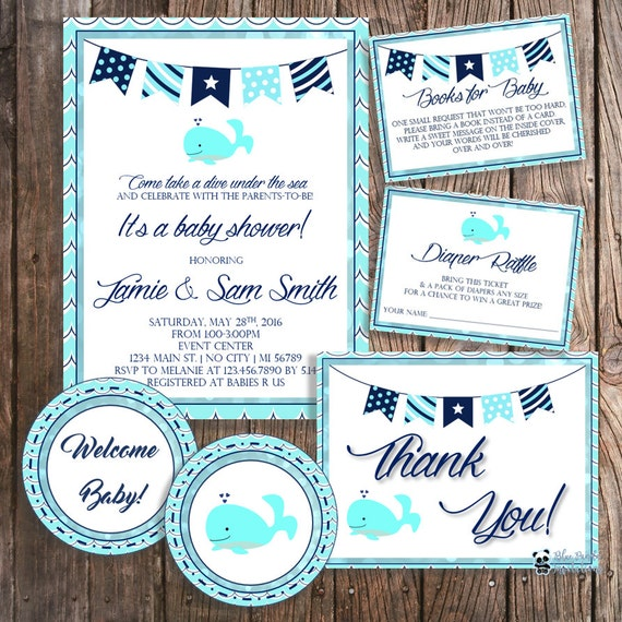 diy nautical baby shower package whale baby shower baby shower