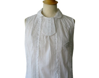 White lace blouse Aimyh crinkle effect fabric