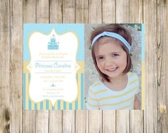 Princess Birthday Photo Invitation First Printable Blue Gold Polka dots Digital 1st Likes Loves Favorites Castle Fairytale stripe Cinderella