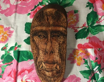 One of a kind wood burnt wall hanging art