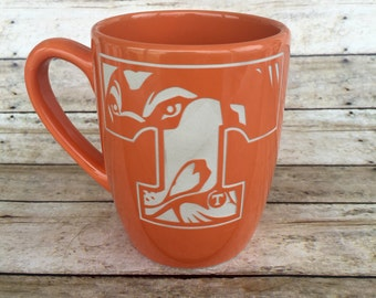 Tennessee Vols, Smokey, Power T, ETCHED, Etched Mug, Coffee Mug, Coffee Cup, Engraved Mug