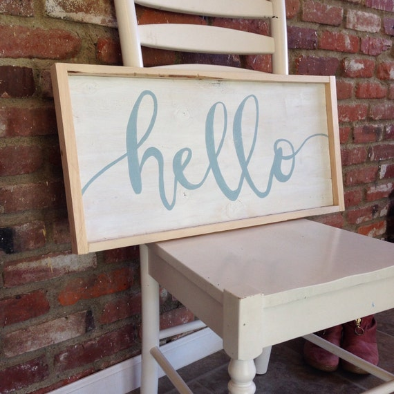 Large Wooden Signs Home Decor: Large Rustic Hello Wood Sign Entryway Wood By