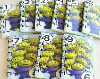 10 Upcycled Toy Story Party Favors - Aliens Favors - Toy Story Birthday Party - Toy Story Notebook - Disney Aliens Party Favors