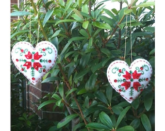 Finished Completed Felt Ornaments, Heart pair, Bucilla Nordic Santa XMAS, Christmas embroidery