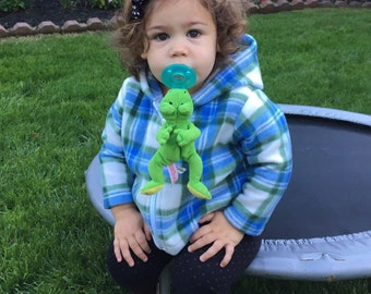 FREE SHIPPING Baby Fleece  Blue Plaid Hoodie Jacket