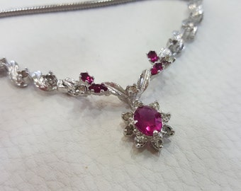 Fabulous necklace rhodium with Ruby stones years 70
