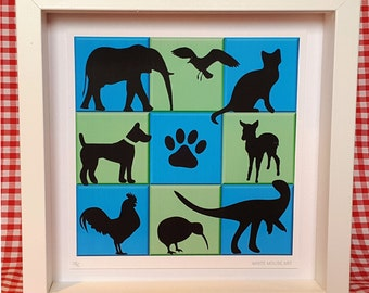 Pop Art Pets! Framed animal silhouettes - for those that love dinosaurs, dogs, elephants etc!.