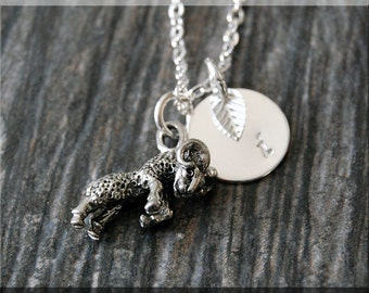 Silver Aries Zodiac Charm Necklace, Initial Charm Necklace, Personalized, Zodiac Horoscope Sign, Aries Pendant, Zodiac Aries Jewelry