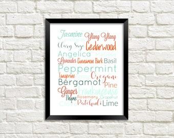 Printable Essential Oil Subway Wall Art  - Aqua Orange - 8x10