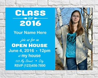 Customizable Printable Graduation Open House Invitation Announcement - Class of 2016