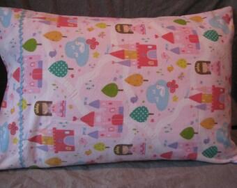 Pink Princess castle kids standard size homemade pillowcase