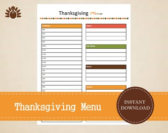 Thanksgiving Menu Planner - Thanksgiving Planner - Printable and Editable - INSTANT PDF DOWNLOAD