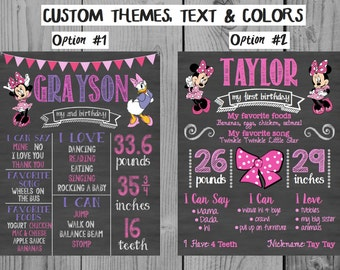 Minnie Birthday Chalkboard Sign First Birthday Sign 1st Birthday Print Minnie Girl Birthday Party Decor Minnie Party Daisy Duck