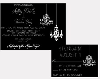 Wedding Invitation - Printable - Elegant Formal Black and White Chandelier - Digital Invite