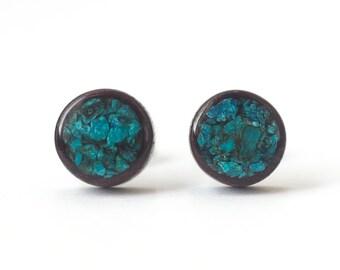 Wooden stud earrings, Wooden earrings, Shattuckite inlay, Natural stone inlay, Natural earrings, Natural jewelry