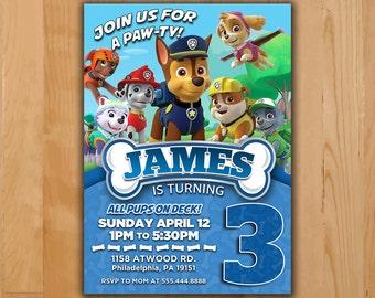 Paw Patrol Invitation - Chase Paw Patrol Party Invite - Paw Patrol Birthday Invite - Chase Rubble Marshall Ryder Rocky Printable invite
