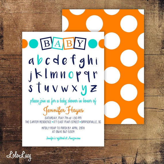 abc baby blocks baby shower invitation with alphabet custom order