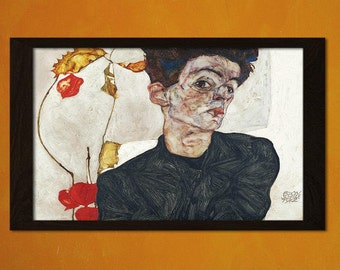 Printed on textured bamboo Art paper - Self-Portrait With Physalis Egon Schiele Print  Retro   Expressionism