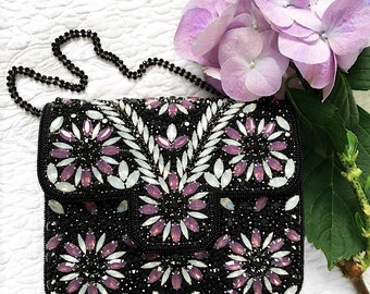 Black Embellished evening clutch bridesmaid clutch party clutch prom clutch bridesmaid gift wedding purse handbag evening purse party bag
