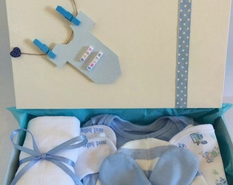 Blue Boys Personalised Baby Shower Gift Hamper Box