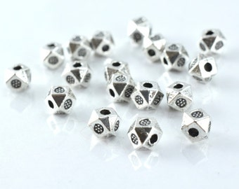 4mm Dimensional Textured Alloy Antique Silver Metal Beads, 1mm hole opening, Sold by 1 pack of 50pcs