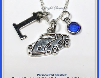 Personalized Car Necklace for Women or Men, Car gift for Teen, Silver Sports Vehicle Charm, Race Buggy Pendant Woman Jewelry Girl Boy letter