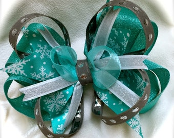 Stacked Bow SNOWFLAKE Shimmer/Glitter Hair Bow