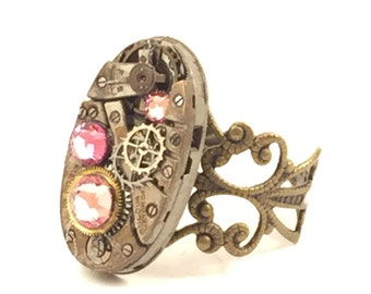 OVAL PINK Steampunk Vintage Ring