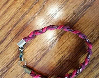 Red and Brown Braided Bracelet