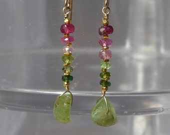 Peridot Earrings, Raw Peridot, Peridot Rough, Ombre Earrings, Gemstone Earrings, Color Shading Earrings, Green Earrings