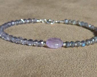 Labradorite Bracelet, Amethyst Bracelet, Iolite Quartz Bracelet, Gemstone Bracelet, Oval Lavender Amethyst Bracelet, Dainty