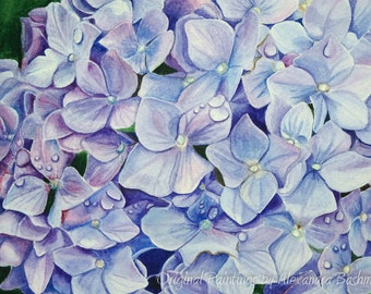 "ORIGINAL Watercolour Painting, ""Hydrangea"", Hand Painted Flowers, Art on Watercolour Paper"