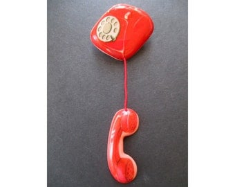 DIAL TELEPHONE Pin * Retro Phone * Red Telephone * Vintage Plastic Telephone Pin * By Standing Ovations