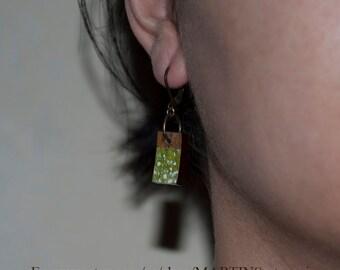 Earrings green coconut