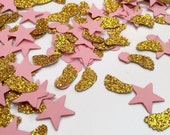 Baby feet confetti, baby shower, pink gold confetti, scrapbook confetti, table sprinkle, gift decor, baby confetti, pink stars, gold