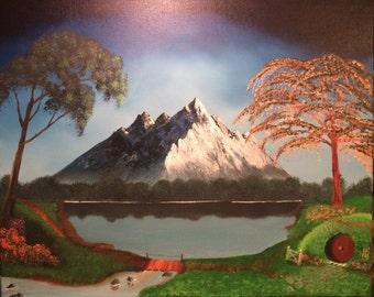 Hobbit hole oil painting