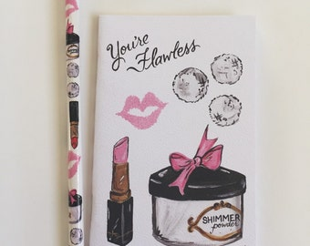 Cute Notebook with matching pencil Makeup Girly Theme Gift Set