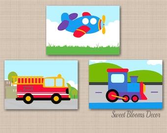 Transportation Nursery Wall Art,Transportation Wall Art,Trains Planes Trucks Kids Wall Art,Planes Trains FireTruck Decor-UNFRAMED set of 3