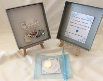 Welsh Bridal garter charm pin, wedding gift Something old, something new, something borrowed, something blue & a sixpence for her shoe.