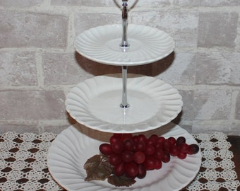 White ironstone cake stand, 3 tier dessert stand,  cupcake, cookie stand, tea party, Wedding, bridal shower, Easter centerpiece