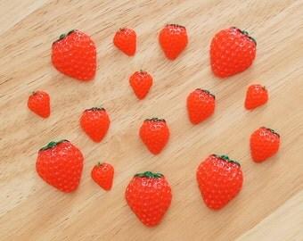 Strawberry (3 Sizes) Flatback Cabochon Resin Deco Embellishments Scrapbooking Craft DIY Fruit - 1/5/20pcs