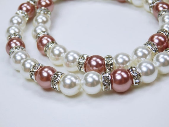 Necklace elegant chain of pearls in bright red (light pink) and rhinestone stones festive jewelry bracelet Pink
