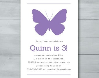 Butterfly Birthday Party Invitation  |  Butterfly Invite  |  Butterfly Birthday Invite