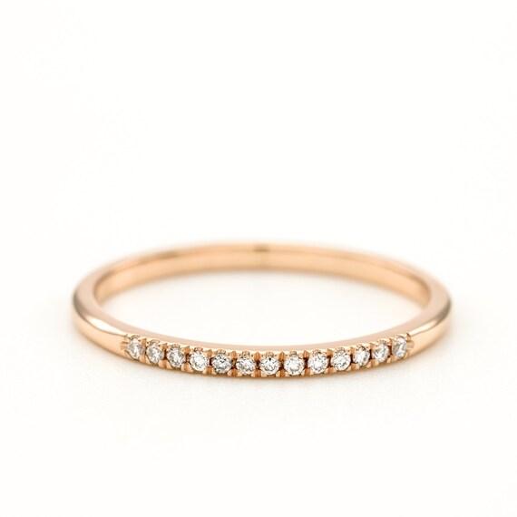 Diamond Wedding Band Thin Diamond Ring Round Brilliant
