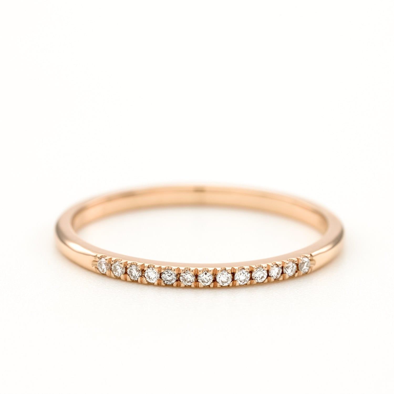 Diamond Wedding Band Thin Diamond Ring Round Brilliant Diamond Ring Micro Pave