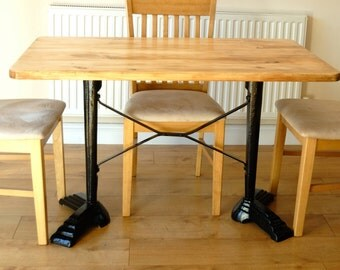Vintage Industrial Dining Table Cast Iron Bases Reclaimed Timber Top Seats 4