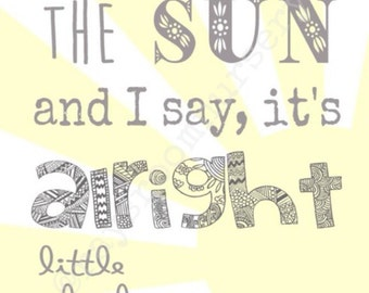Nursery Wall Decor - Wall Art - Here Comes The Sun - Beatles - Song Lyrics