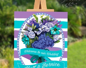 PRINTABLE Custom Wedding Welcome Sign Poster Purple and Blue Bouquet