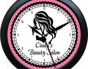 "Hair Salon 10"" Personalized Wall Clock Beauty Salon Hair Stylist Pink Black & Gray"