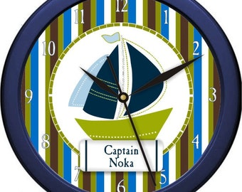 "Nautical Sail Boat Personalized 10"" Wall Clock Nursery  Beach House Bathroom Decor Wall Clock Gift"